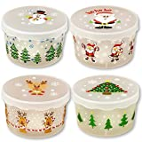 Christmas Containers with Lid Covers For Cookies Desserts Baked Goods Candy - 4 Pack Holiday Designs - Storage Tubs - Treats Exchange Swap Party Leftovers - Nested Container - BPA Free Plastic
