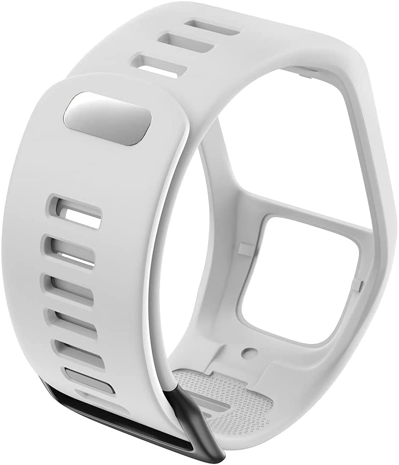DXFFOK Silicona Reemplazo de Pulsera Reloj Correa para Tomtom Runner 2 3 Spark 3 GPS Reloj Deportivo para Tomtom 2 3 Series Soft Smart Band (Band Color : White)