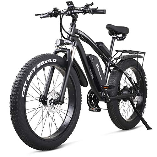 Sheng milo 26 Inch Fat Tire Electric Bike 48V 1000W Motor Snow Electric Bicycle with Shimano 21 Speed Mountain Electric Bicycle Pedal Assist Lithium Battery Hydraulic Disc Brake(MX02S) (Black)