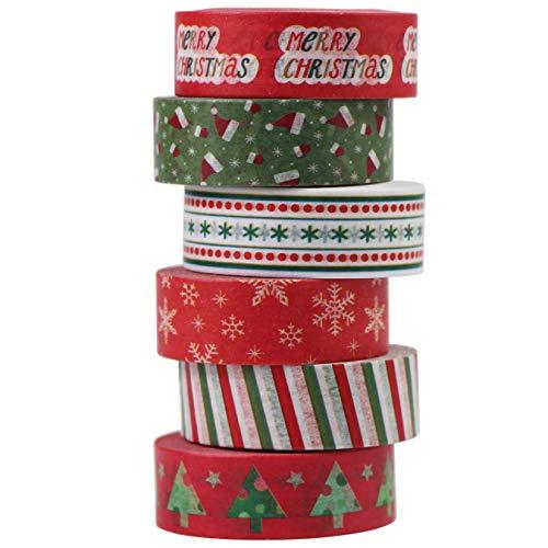 6 Rouleaux Washi Tape Rouge Noël Ruban Adhésif Papier Décoratif Masking Tape Scrapbooking DIY Christmas Tape 10m x 15mm