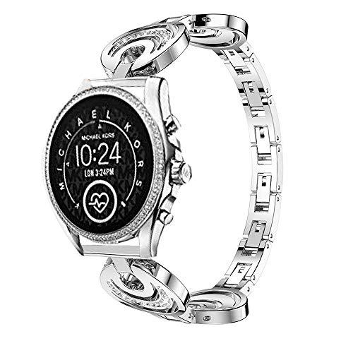 LvBu Armband Kompatibel für Michael Kors Bradshaw 2, Damen Metall Band Premium Edelstahl Bracelet Gurt für Michael Kors Access Gen 5 Bradshaw Smartwatch (Silber)