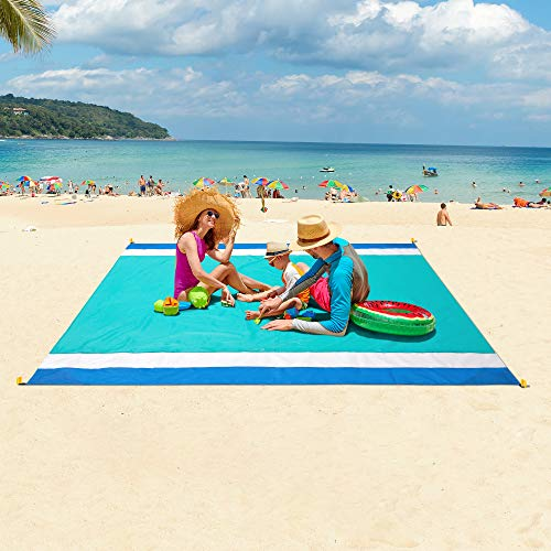 """WIWIGO Sandproof Beach Blanket, Oversized Sand Free Beach Mat 79"""" X 82"""" Suitable for 4-7 Adults, Waterproof Lightweight Picnic Mat for Travel, Camping, Hiking(Lake Blue)"""