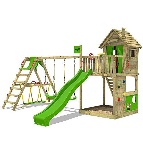 FATMOOSE Spielturm Klettergerüst HappyHome Hot XXL mit Surf-Anbau, Schaukel & apfelgrüner Rutsche, Baumhaus mit großem Sandkasten, Kletterwand & viel Spiel-Zubehör