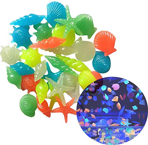 Oubest Fish Tank Rocks Glow Multi-Colored Sea Shells/Glow in The Dark Pebbles for Fish Tank Aquarium (100Pcs, Starfish)