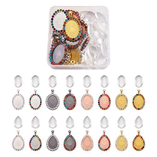 Cheriswelry 32 piezas en blanco bisel colgante gota & Oval transparente colorido Rhinestone con bandeja plana redonda camafeo ajuste cabujón para foto Charms Joyería llavero