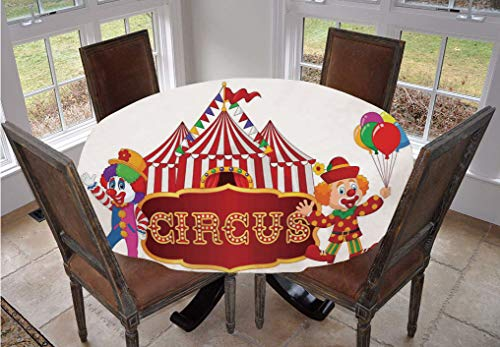 Angel Bags Circus Decor Round Tablecloth,Circus Tent with Clown Advertisement Event Man Billboard Waving Classic Polyester Table Cover,60 Inch,for Dining Rooms and Kitchens