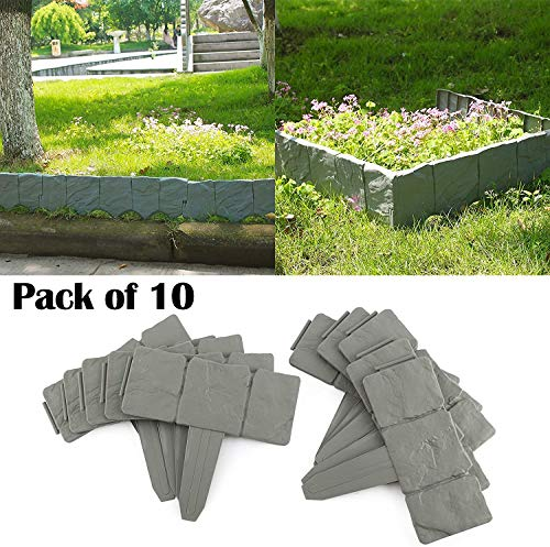Quieting Lakeland Cobbled Stone Effect Plastic Garden Edging Border Hammer-In Lawn