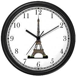 WatchBuddy Eiffel Tower Paris & France - Famous Landmarks - Theme Wall Clock Timepieces (Black Frame)
