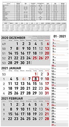 3-Monats-Kombiplaner GRAU 2021 - Büro-Planer - Planer-mit-Schieber - 3-Monate - 33x58,7