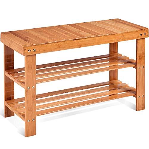CZWYF Bamboo Shoe Rack Bench Organizador de almacenamiento independiente de almacenamiento de...