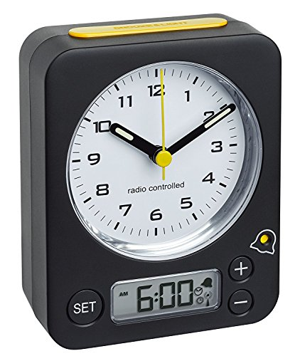 TFA-Dostmann Funk-Wecker Combo TFA 60.1511 Reisewecker Analogwecker (schwarz-gelb mit Batterien)