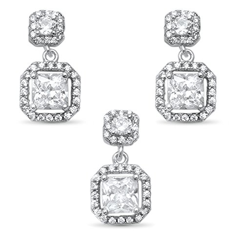 Oxford Diamond Co Square Cubic Zirconia Halo .925 Sterling Silver Earring and Pendant Set