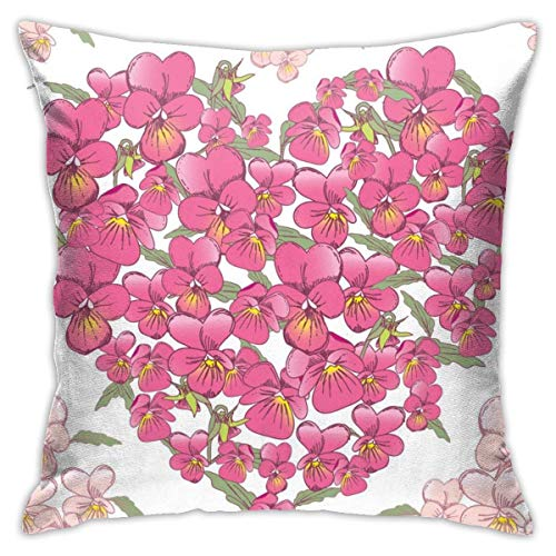 Hangdachang Throw Pillow Case 45cm x 45cm Pink Heart of Pansies Pillowcase,Square Throw Covers,Decorative Cushion for Sofa Couch Car
