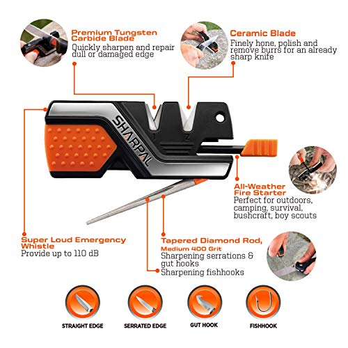 Product Image 1: SHARPAL 101N 6-In-1 Pocket Knife Sharpener & Survival Tool, with Fire Starter, Whistle & Diamond Sharpening Rod, Quickly Repair, Restore and Hone Straight and Serrated Blade