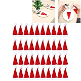 JNML 40Pcs Navidad Decorativo Mini Santa Sombreros Tenedores Bolsa vajilla Cuchillo Herramienta de Almacenamiento Sombrero de Navidad Cubierta de vajilla, Estados Unidos