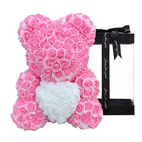 SBYMX 10-Zoll-Rosenbär Teddy für Immer Rosenblumenbär künstlich simuliert - Blume für Jubiläum, Weihnachten, Silbertag, Valentinstag, Muttertag, Thanksgiving-Geschenk