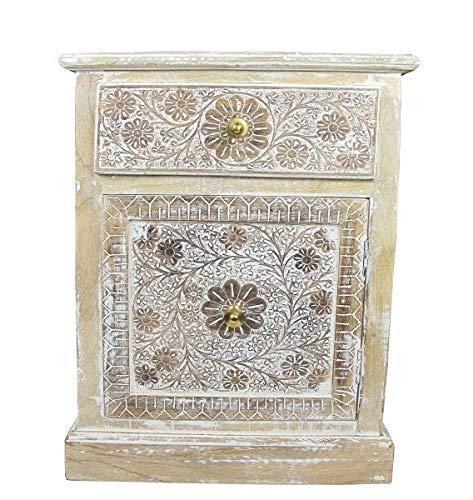 Saharashop - Cómoda India de Madera n.º 1, cómoda Oriental de 40 x 45 x 63 cm, Color Blanco Natural, Estilo Oriental Vintage, Mueble asiático de la India