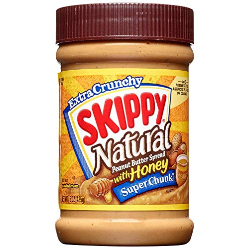 SKIPPY Natural SUPER CHUNK Extra Crunchy Peanut Butter Spread with Honey, 15 Ounce