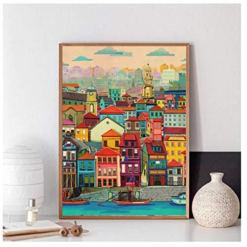 KBIASD Pinturas en Lienzo de Casas Coloridas imágenes artísticas de Pared Modernas Carteles e Impresiones para la decoración de la Sala de estar-40x50 cm sin Marco