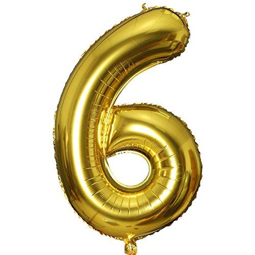 Smarcy Palloncino Gonfiabile Numero 6 Palloncini Compleanno 6 Anni Decorazioni Compleanno Bimbo d'oro
