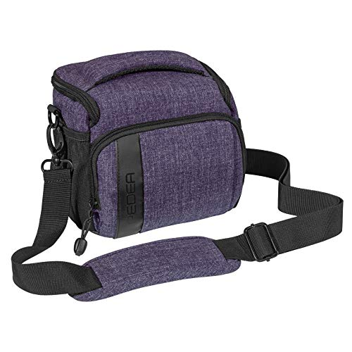 PEDEA DSLR-Kameratasche Fashion Fototasche für Spiegelreflexkameras mit wasserdichtem Regenschutz, Tragegurt und Zubehörfächern (Größe L, lila)