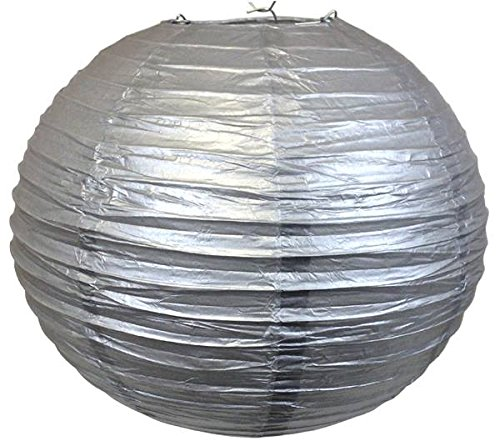 """Perfectmaze 6 Piece Round Chinese Paper Lantern for Wedding Party Engagement Decoration 10 Sizes / Colors+ (14"""" (Inch), Silver)"""