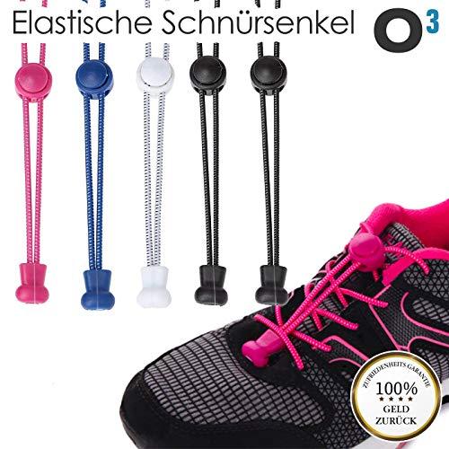 O³ Schnürsenkel Schnellschnürsystem // 5 Paar // Shoe Laces für Kinder und Erwachsene – anpassbare Länge // Elastische Schuhbänder mit Schnellverschluss schwarz weiß blau pink