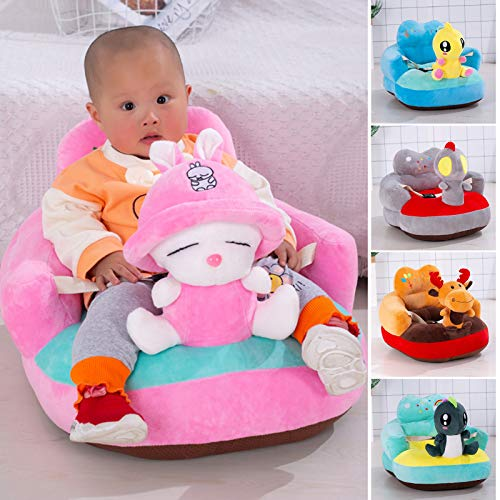Qiuming Plush Baby Sofa Cartoon Figure Soft Floor Chair Toy with Backrest & Belt for Baby Learning to Sit