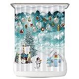 ZYLLZY Cortinas opacas de Navidad Happy Snowman, 180 x 180 cm 3D de poliéster resistente al agua, cortina de baño, diseño de muñeco de nieve con gancho en la nieve