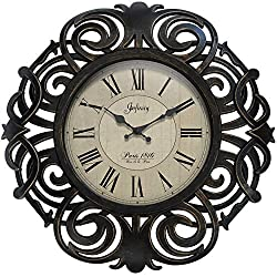 Infinity Instruments Paris France Elegant Wall Clock 18 inch Decorative Clock for Kitchen, Living Room, Bedroom Large Bronze Traditional Frame Antique Quiet-Ticking Wall Decor Quartz Movement