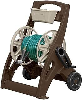 Suncast Hosemobile Garden Hose Reel Cart - Lightweight Portable Garden Cart with Wheels, Crank Handle, and Storage Tray for Gardening Accessories - 225' Hose Capacity - Mocha