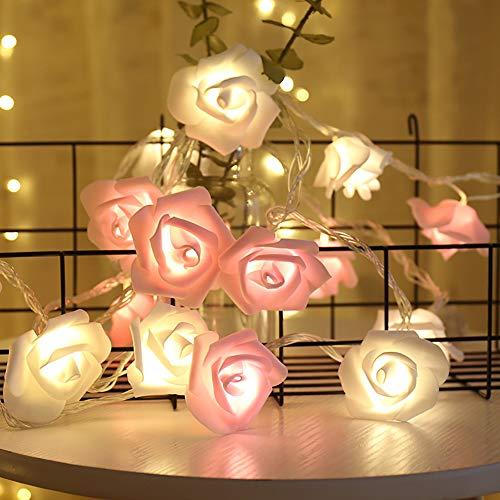 shirylzee Rosen Lichterketten LED Rose Lamp Simulation Rosenblütenkette 3M 20LED Lichterketten Batteriebetriebene Beleuchtung Deko für Garten Party Hochzeit Valentinstag Weihnachten - Rosa