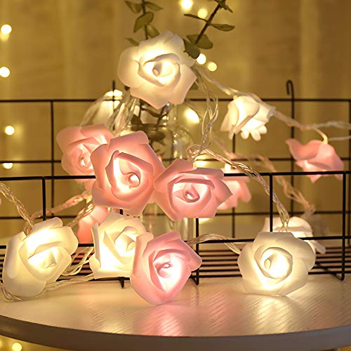 shirylzee Rosen Lichterketten LED Rose Lamp Simulation Rosenblütenkette 3M 20LED Lichterketten Batteriebetriebene Beleuchtung Deko für Garten Party Hochzeit Valentinstag Weihnachten - Rosa