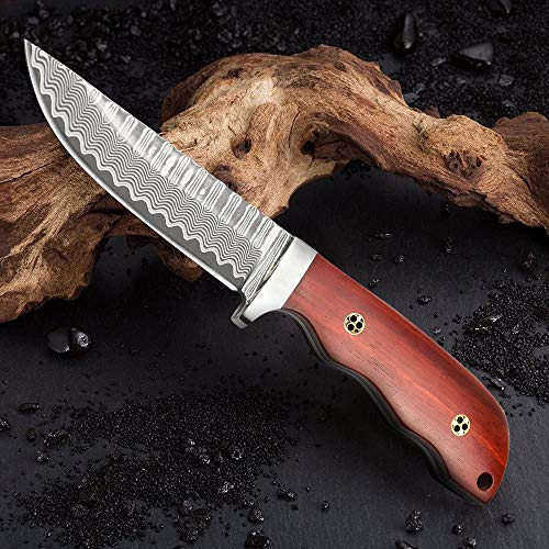 NedFoss Handmade Damascus Hunting Knife with Leather Sheath, Full Tang Damascus Steel Blade Beautiful Knife for Hunting,Camping - Gift for Men
