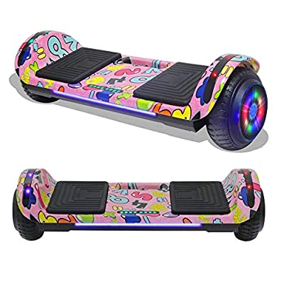 "TPS 6.5"" Rechargeable Hoverboard Self Balancing Scooter with Colorful LED Wheel Lights - UL2272 Certified (Hydro Dipped Pink)"