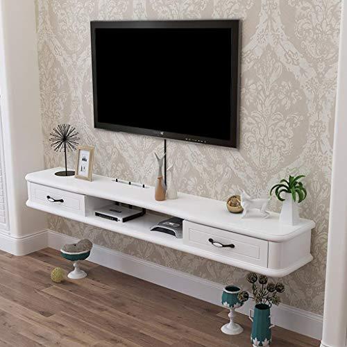 Massivholz Wandregal Schwimmendes Regal Wand-TV Schrank Hängender Wandschrank Mit Schublade Set-Top-Box Router DVD Spieler Regal Multifunktionales Verkaufsregal (Color : White)