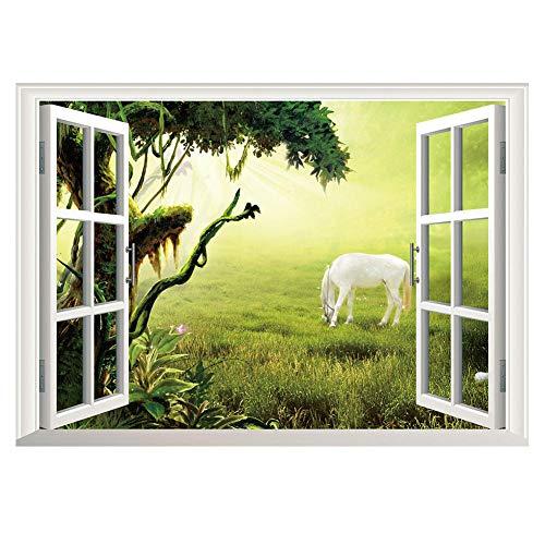 Decors Girl3D nep venster grasland wit paard woonkamer slaapkamer achtergrond muur Sticker