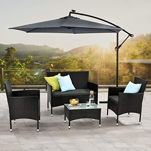 ArtLife Polyrattan Gartenmöbel-Set Fort Myers schwarz – Sitzgruppe mit Tisch, Sofa & 2 Stühlen – Balkonmöbel für 4 Personen mit grauen Auflagen - 3