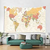 Yellow Map Tapestry World Vintage Map Tapestry Wall Hanging Asia Europe South City Topography America Africa Japan Wall Decor Tapestry 60 X 80 Inch