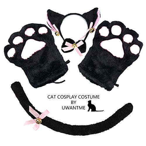 Cat Cosplay Costume Kitten Tail Ears Collar Paws Gloves Anime Lolita Gothic Set Black