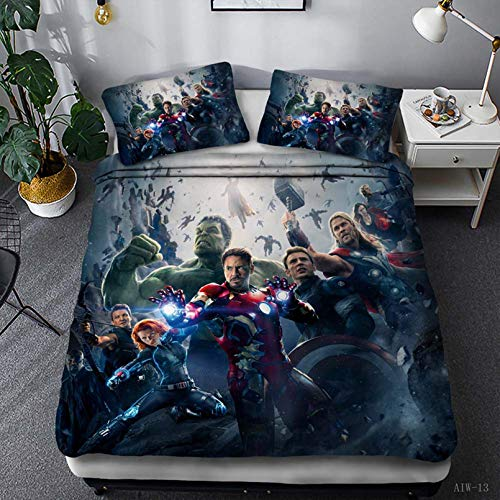 BATTE Juego de funda de edredón infantil 3D The Avengers de microfibra, funda de edredón y funda de almohada, cama individual, doble, king size para niños y adultos (E,200 x 200 cm)