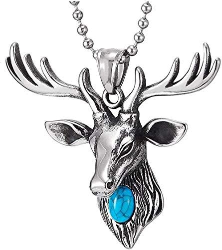 Collar con colgante de cabeza de reno de ciervo de acero vintage para mujer con cadena de cuentas turquesa de 30 pulgadas