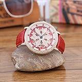 WZFCSAE Autentico Orologio da Donna al Quarzo con Cinturino in Pelle con Diamanti alla Moda E Diamanti Coreani