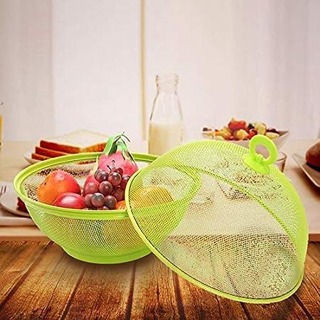 SODIAL Cesta de Frutas de Rejilla N/óRdica con Tapa Plato de Fruta de Pl/áStico una Prueba de Insectos para el Hogar Cocina y Sala de Estar Rojo