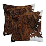 WFLOSUNVE Farmhouse Faux Cowhide Decorative Throw Pillow Covers 18'x 18' Set of 2, Soft Flannel Rustic Tricolor Brown Print Cushion Cases for Bed and Couch