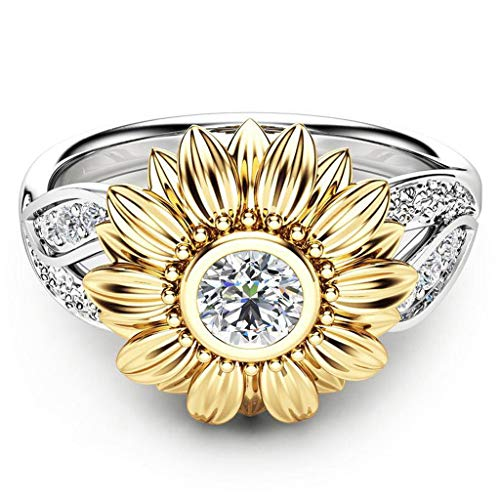 Exquisite Women's Two Tone Silver Floral Ring Round Diamond Gold Sunflower Jewel Crystal Ring Set Carved Rings Trendy Jewelry Accessories for Women and Girls