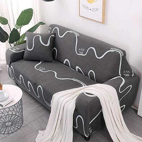 Copridivano elastico fodera per Slipcovers Decorativo Copri Tessuto in poliestere con stampa di motivi geometrici in tessuto Curve color caffè Sedili per 3 persone 190-230 cm Facile da installare