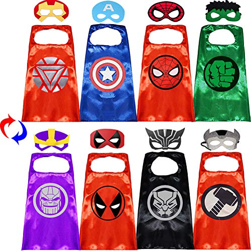 Superhero Capes with Masks Double Side Dress up Costumes Festival Christmas Halloween Cosplay Birthday Party Favors for Kids (Double Side 4 Sets)