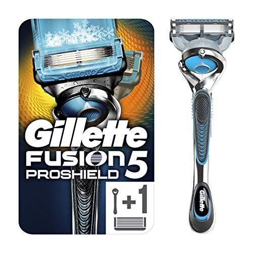 Gillette Fusion 5 ProShield Chill Rasierer Herren mit Trimmerklinge für Präzision und Gleitbeschichtung, Rasierer + 1 Rasierklinge