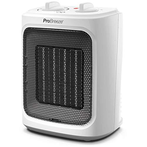 Pro Breeze Mini Calefactor Cerámico de 2000 W- con Ajuste Frío, Tres Niveles de Potencia - para Uso en la Oficina, Casas, Dormitorio o Terraza - Blanco
